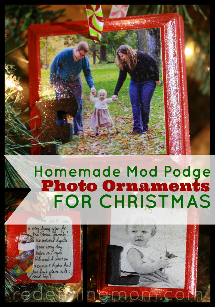 Create a family tradition every Christmas by making yearly photo ornaments for the tree. In this tutorial I show you how to make mod podge photo ornaments for Christmas!