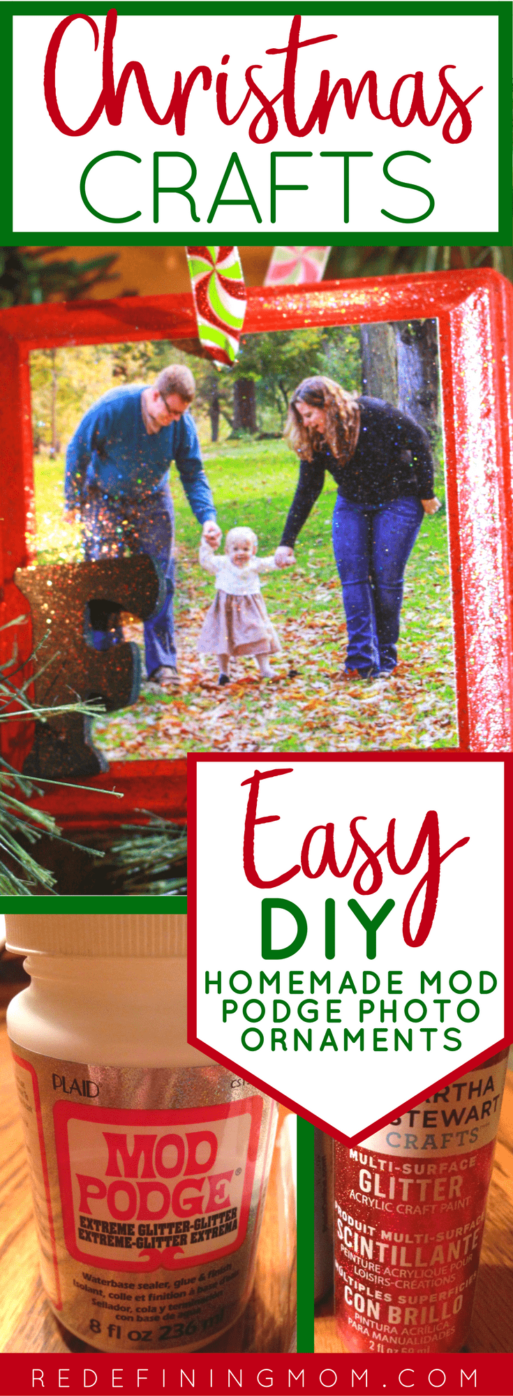 Christmas crafts, easy DIY homemade mod podge photo ornaments. Create a family tradition every Christmas. In this tutorial, I show you how to make mod podge photo ornaments for Christmas. Mod podge crafts, mod podge ornaments, photo ornaments.