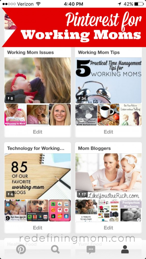 Learn how working moms can use Pinterest to help stay organized and be creative.
