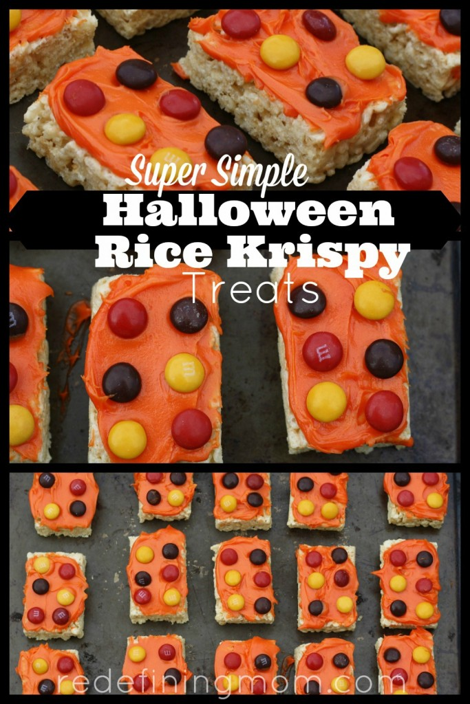 Super simple Halloween Rice Krispy treats that you can make in 10 minutes for under $10. Great for school Halloween parties and October birthdays!