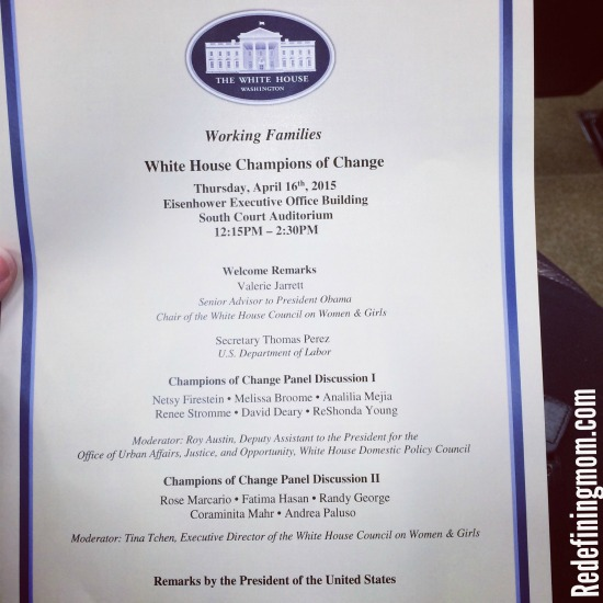 My trip to the White House for Champions of Change for Working Families