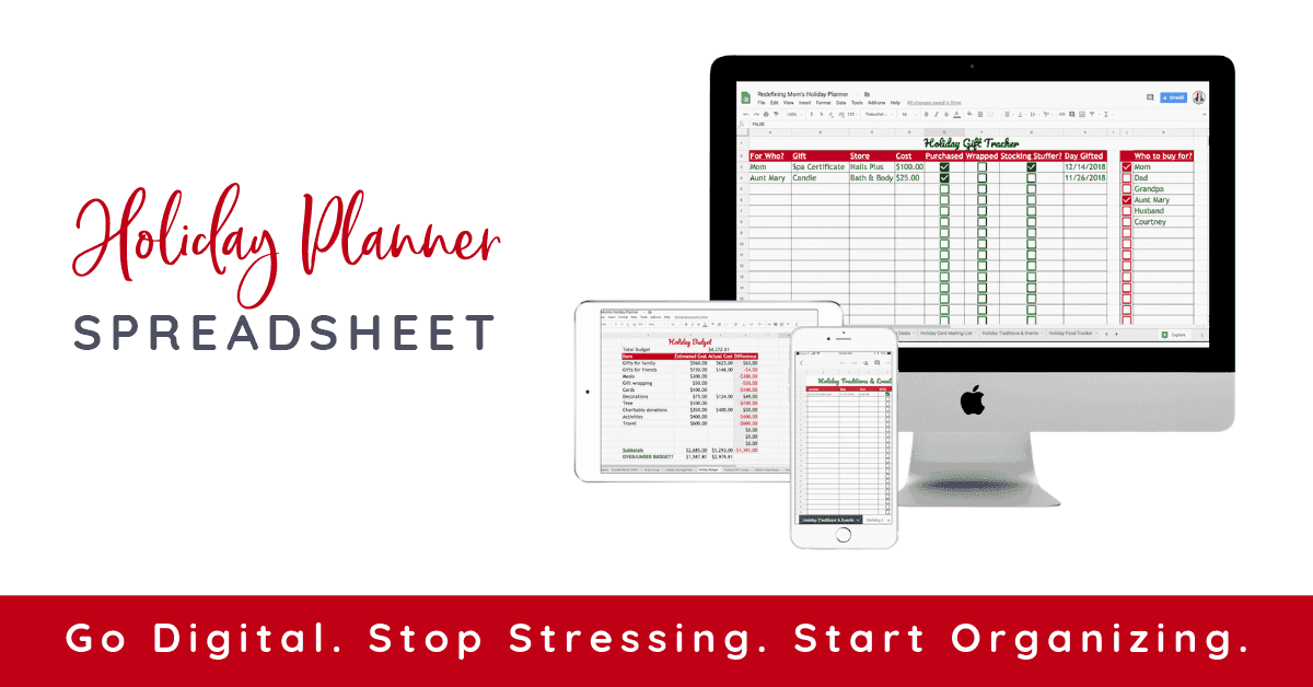 get more organized this holiday season with the holiday planner spreadsheet