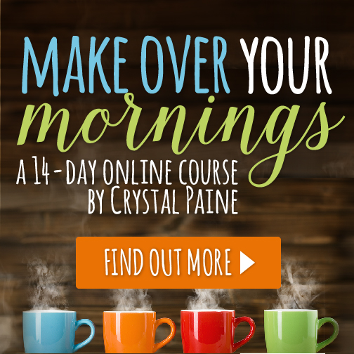 When I was struggling with time management as a new mom, I turned to Crystal Paine's Make Over Your Mornings!