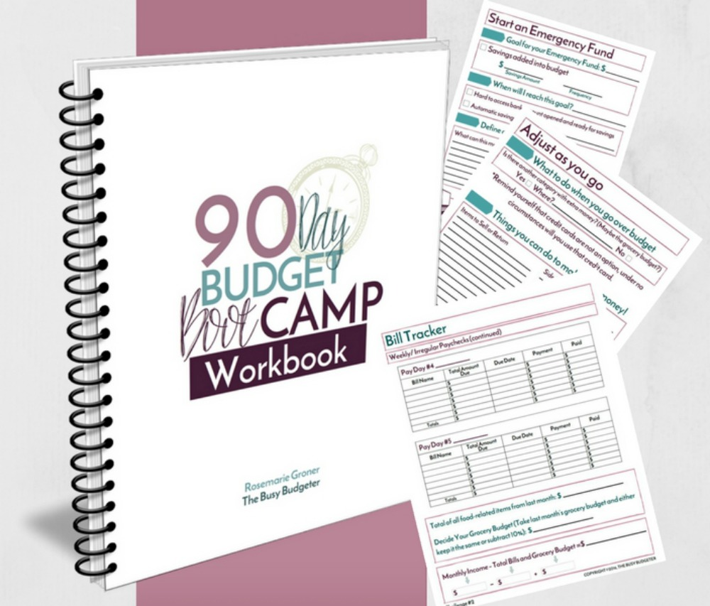 90-day budget bootcamp workbook by Rosemarie Groner from The Busy Budgeter