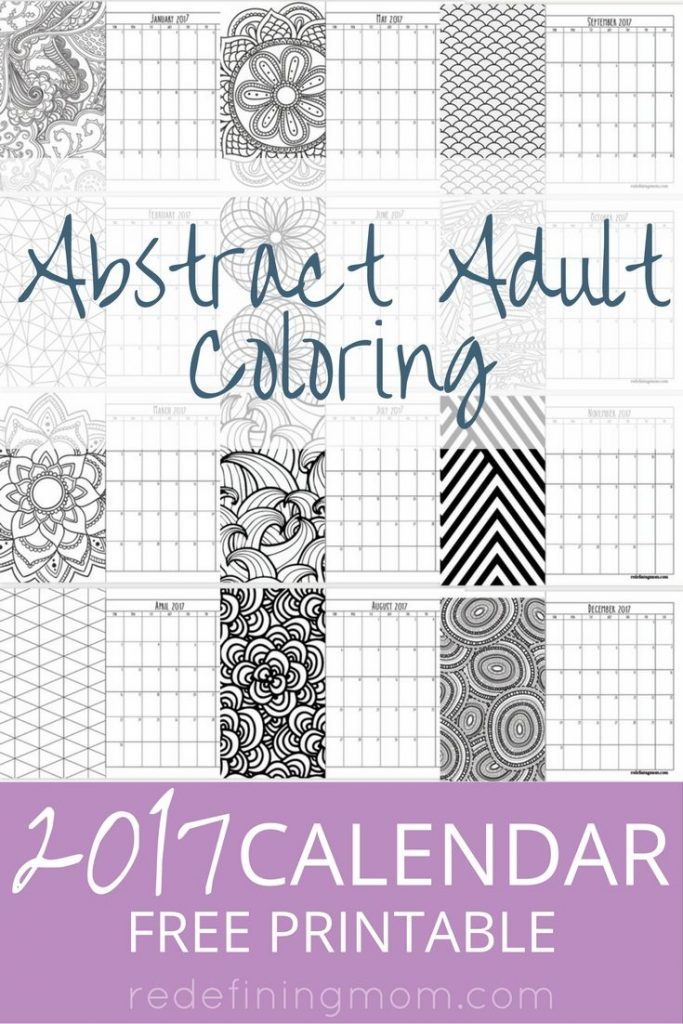 Abstract Adult Coloring  Calendar Free Printable  Redefining Mom