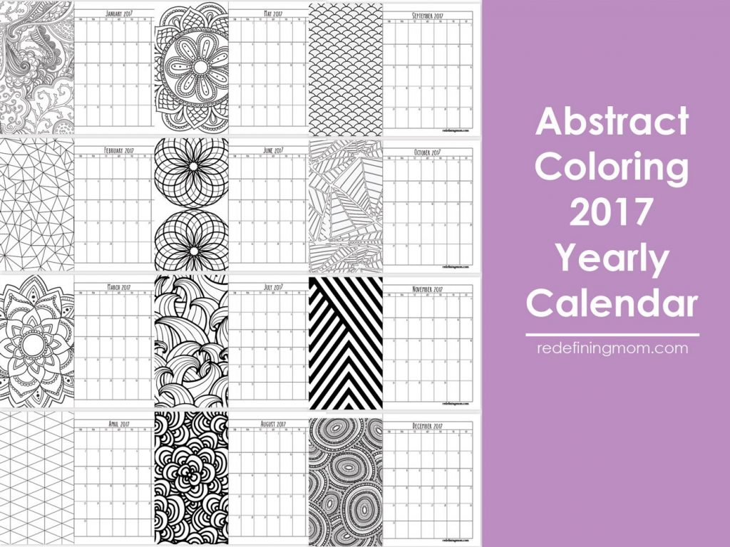 Don't miss this FREE printable abstract adult coloring 2017 calendar. Adult coloring pages are popular right now, color your own calendar for the New Year!