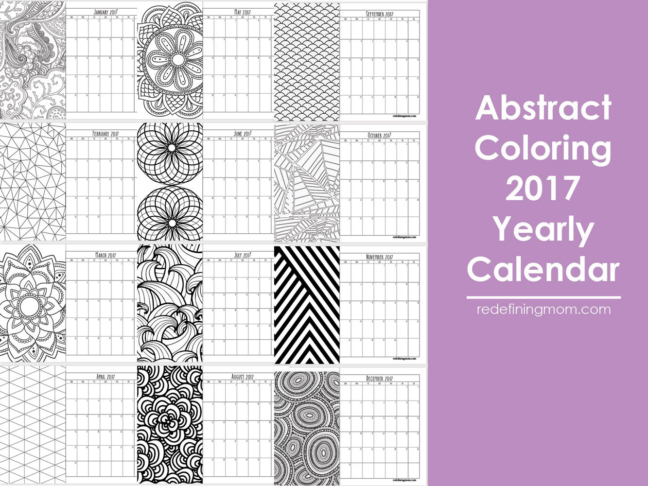 Abstract Adult Coloring 2017 Calendar Free Printable - Redefining Mom
