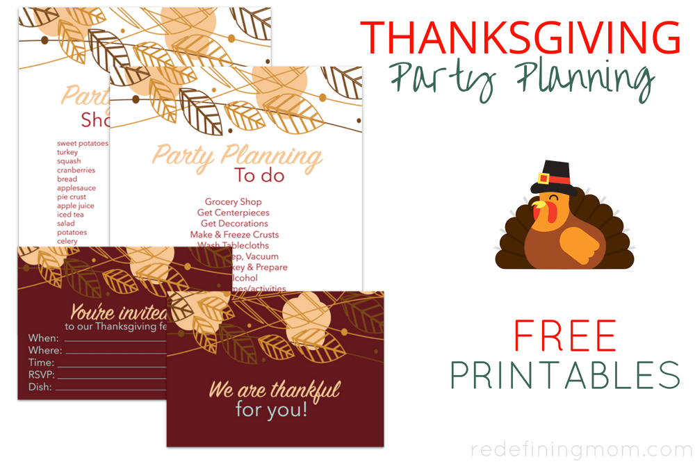 Thanksgiving Party Planning FREE Printables - Redefining Mom