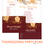 "Download 4 FREE printables for Thanksgiving party planning. Including cute handwritten thanksgiving dinner invitations, a ""thankful for you"" table setting card, and a done for you thanksgiving shopping list!"