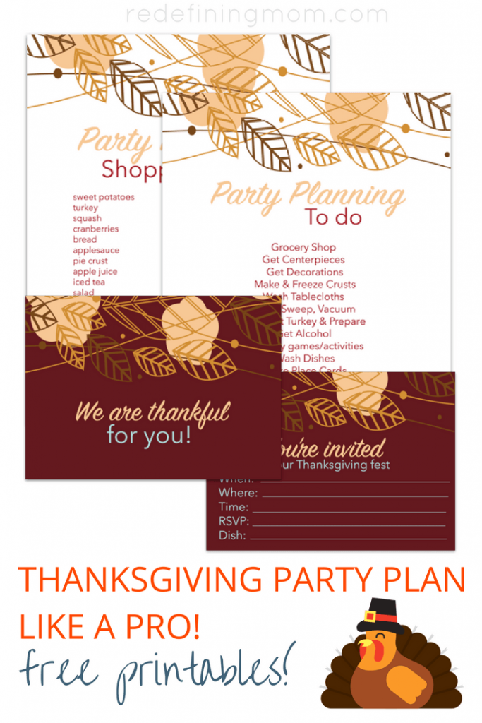 """Download 4 FREE printables for Thanksgiving party planning. Including cute handwritten thanksgiving dinner invitations, a """"thankful for you"""" table setting card, and a done for you thanksgiving shopping list!"""