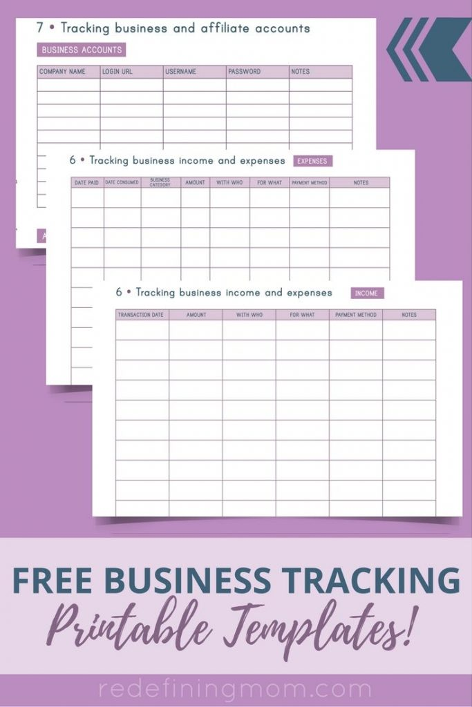 3 Free Business Tracking Printable Templates Including A Business Income  And Expense Tracker And Business Account  Free Business Printables
