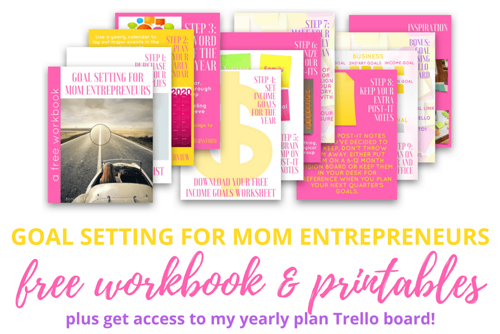 Download my free goal planning workbook for mom entrepreneurs and get access to my yearly plan Trello board and printable worksheets! 2017 goals free printable / 2017 goals planner / Yearly goals printable free / Yearly goals bullet journal / Business goal setting mom entrepreneurs