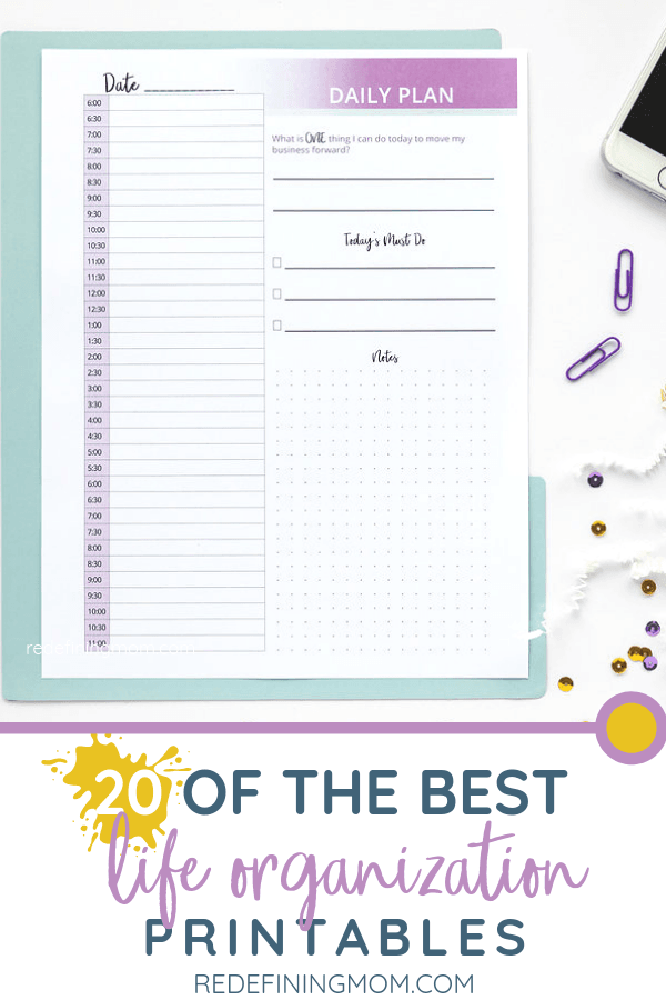 More than 20 of the best life organization printables for download!