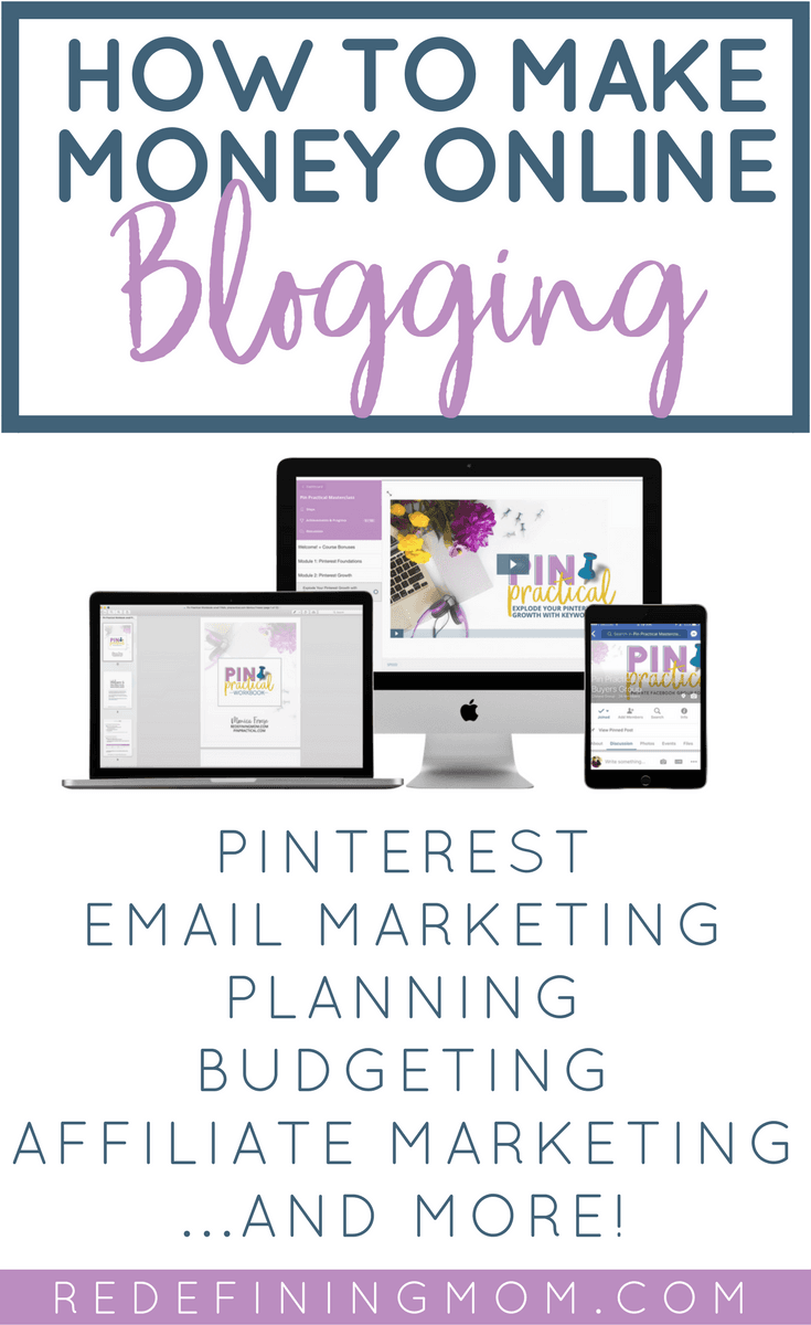 Learn how to make money online, grow a profitable blog, and track your business income. How to start a blog and make money online, Pinterest course for bloggers, email marketing tips. Products by Redefining Mom: Pin Practical, ConvertKit Masterclass, Busy Moms Building, Blog Planner