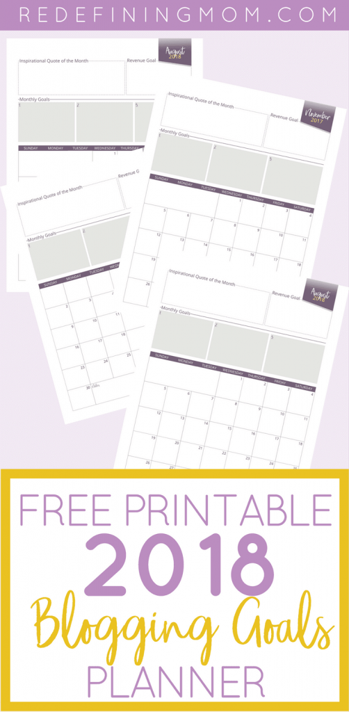 Increase your blog income. Set blogging income goals that will help you 3x your income in 2018. Download your copy of the FREE Printable 2018 Blogging Goals Planner! Blog planner / blog goals / blogging binder / bogging planner / free printable 2018 blogging planner
