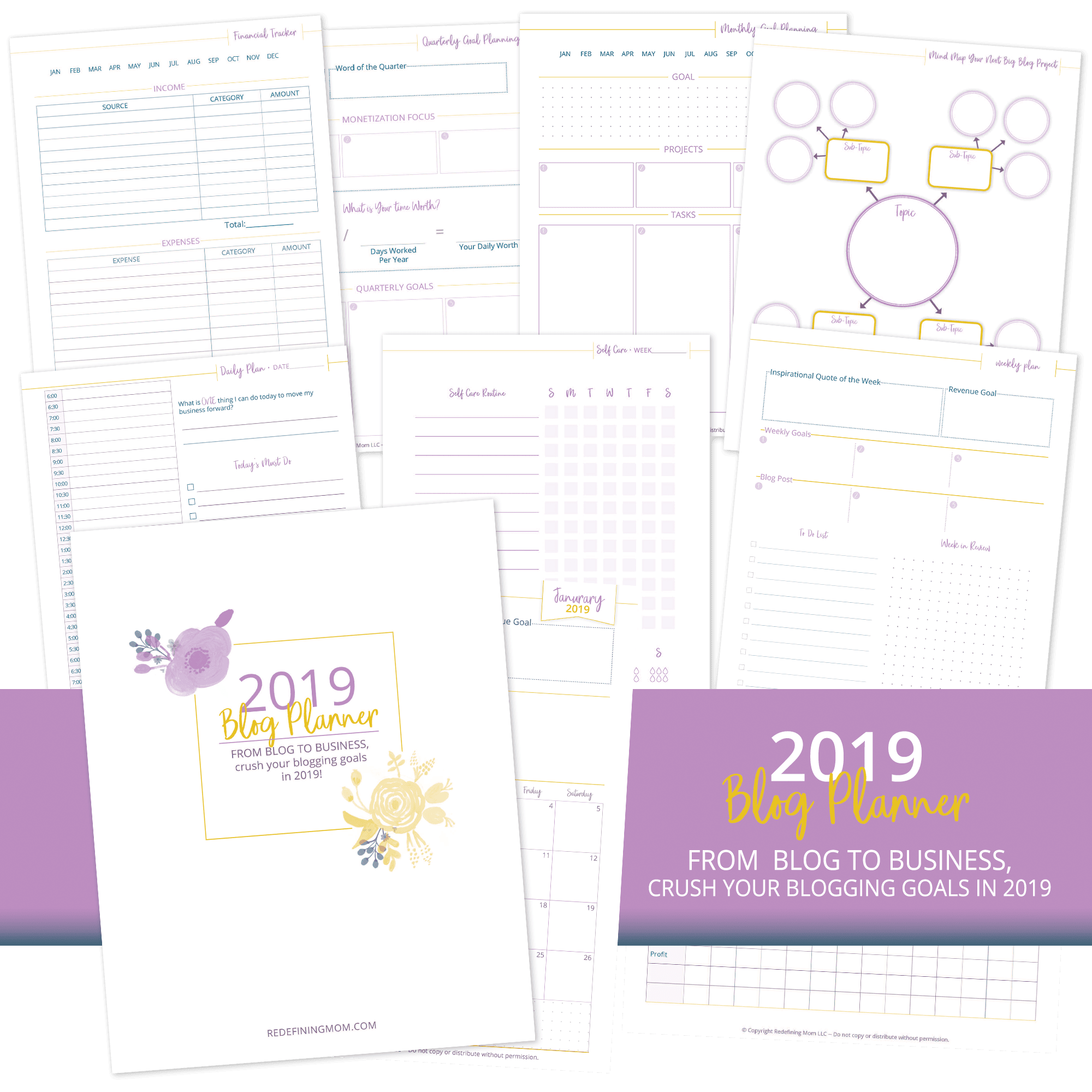 Get your free printable blog planner pdf for 2019!