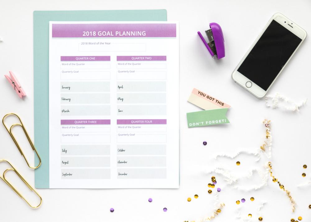 2018 goal planner for bloggers