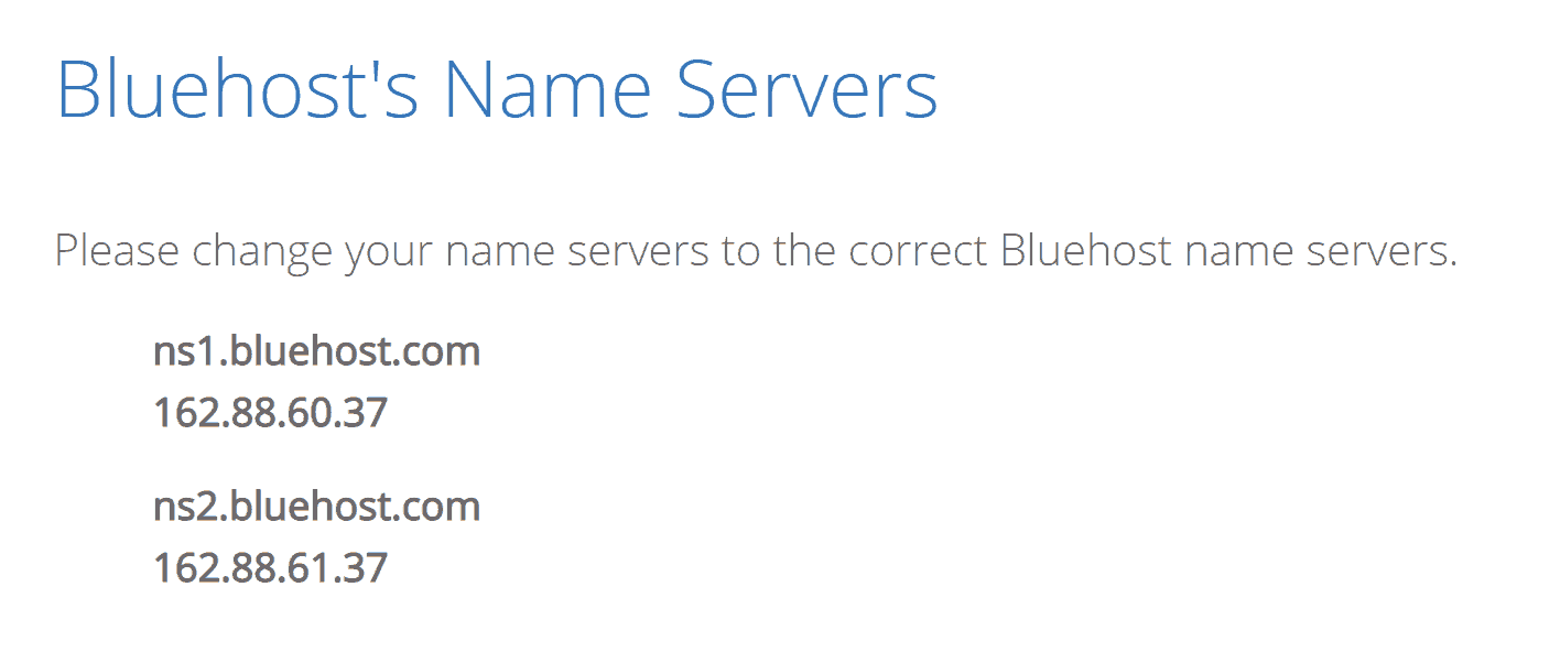 change dns settings and nameservers to bluehost