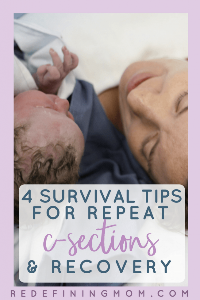 4 tips for preparing for a repeat c-section and recovery! Amazing c-section tips from moms who have been there. Everything you need to know about you repeat c-section recovery.