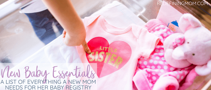a list of all the baby essentials a second time mom needs for her baby registry