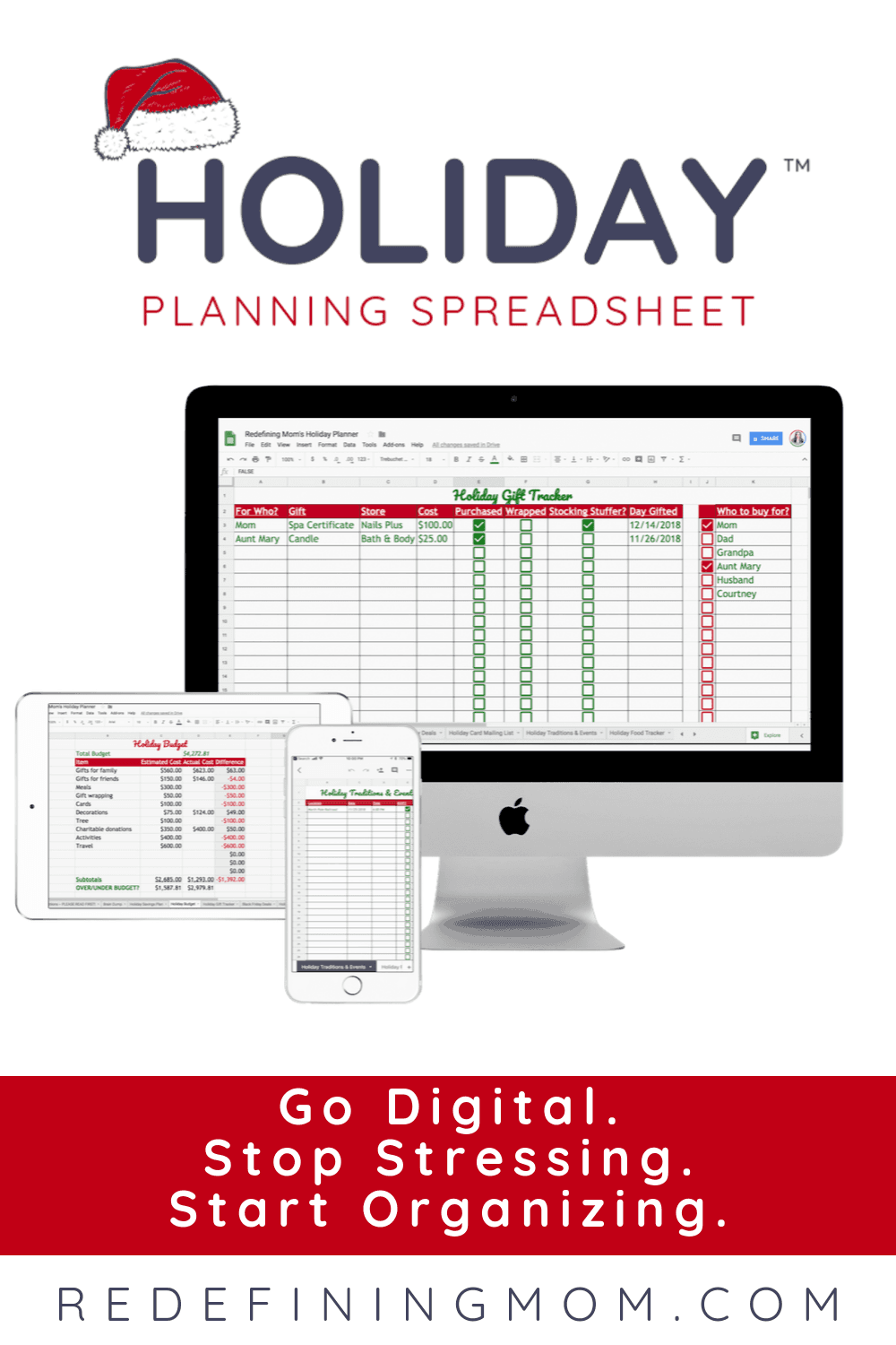 Organizing for the holidays doesn't have to be hard! Why not go digital with the perfect holiday planner spreadsheet? The holiday planning has never been easier!